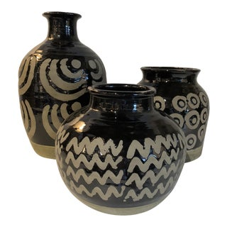 20th Century Moroccan Geometric Ceramic Vases - Set of 3 For Sale