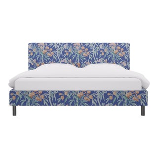 King Tailored Platform Bed in Lapis Lanai By Scalamandre For Sale