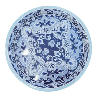 Vintage Delft Blue Tin Serving Tray For Sale