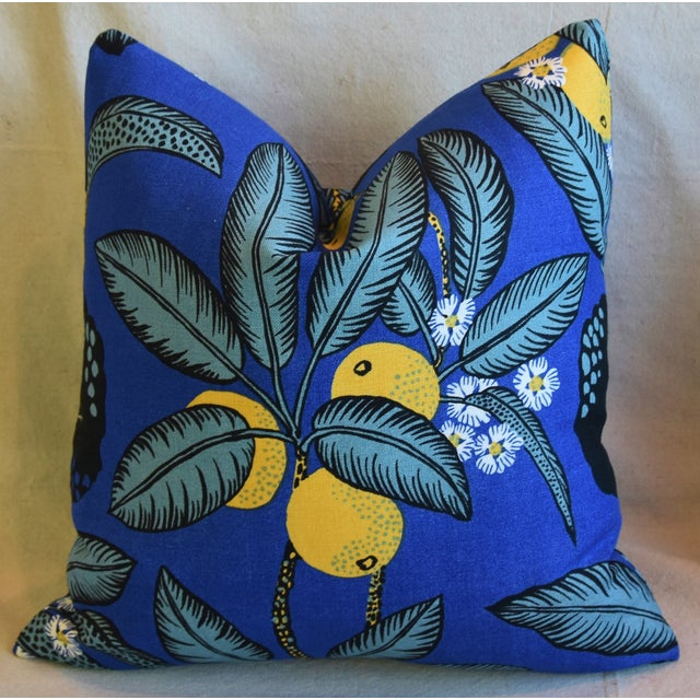 """Early 21st Century Designer Josef Frank """"Notturno"""" Floral Linen Feather/Down Pillows 18"""" Square - Pair For Sale - Image 5 of 11"""