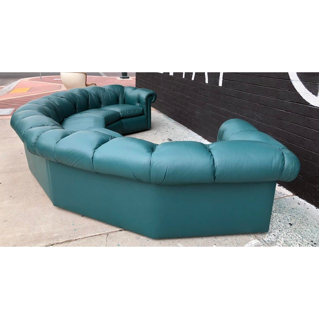 1970s 1970's Tufted Leather A. Rudin Circular Sectional Sofa For Sale - Image 5 of 10
