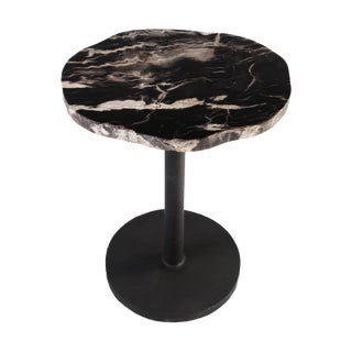 Organic Modern Petrified Wood Top Accent Table With Iron Stand For Sale