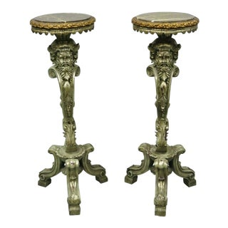 Late 20th Century Marble Top Cast Resin Figural Mythical Pedestals- A Pair For Sale