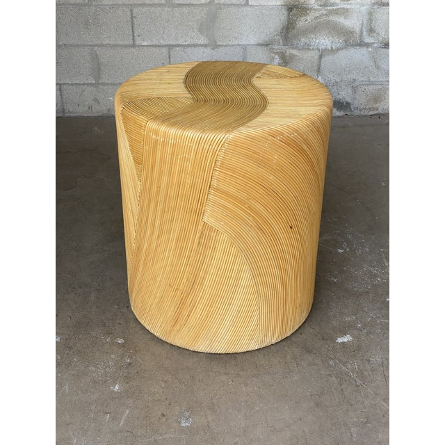 Late 20th Century Vintage Coastal Pencil Reed Dining Table Pedestal For Sale - Image 5 of 8