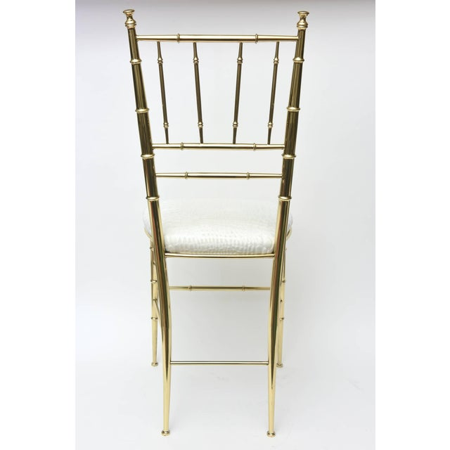 Vintage Mid Century Italian Chiavari Faux Bamboo Brass and Upholstered Side Chair For Sale - Image 9 of 11