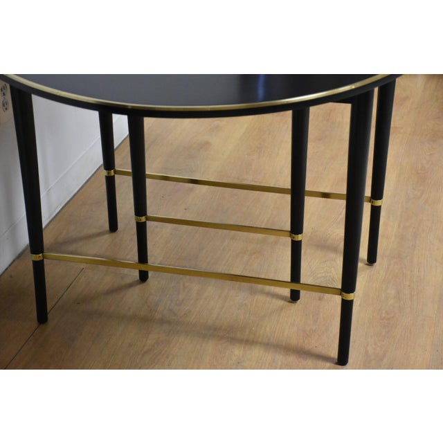 Mid-Century Modern Paul McCobb Black Lacquer and Brass Dining Table For Sale - Image 3 of 11