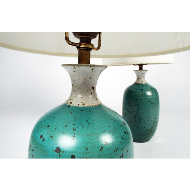 Gerry Williams Gerry Williams Robins Egg Blue Ceramic Table Lamps - a Pair For Sale - Image 4 of 5