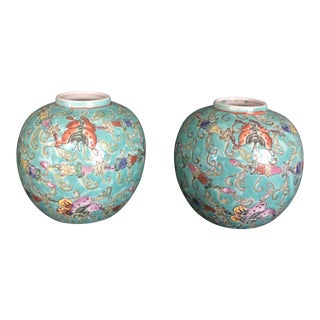 20th Century Japanese Green Butterfly Pattern Porcelain Ginger Jars - a Pair For Sale