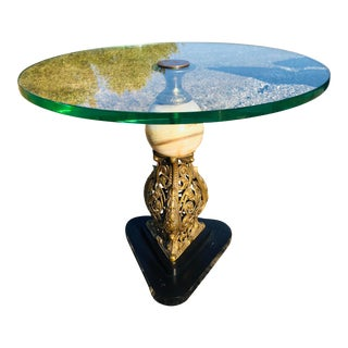 1960s Mid Century Baroque Style Brass and Glass Side Table For Sale