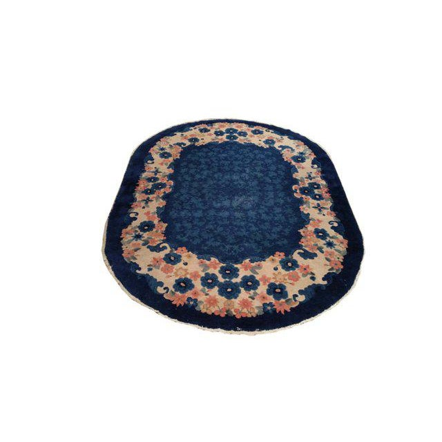 Antique Oval Art Deco Handmade Knotted Rug. ID Number: CH0617444