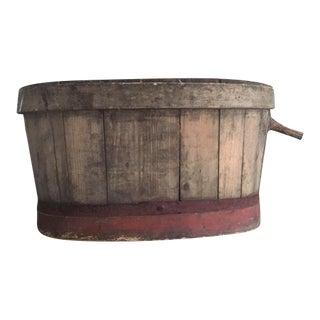 1900s Folk Art Wood Bucket For Sale