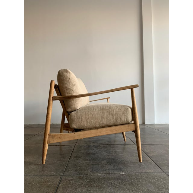 1960s MCM Danish Wood and Woven Cane Couch For Sale - Image 5 of 10