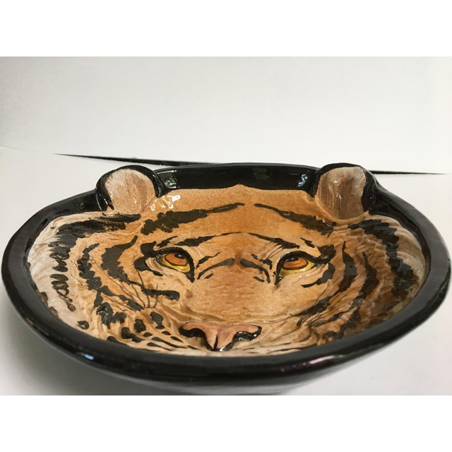 Mid-Century Large Tiger Face Pottery Bowl/Catchall - Made in Italy For Sale - Image 6 of 13