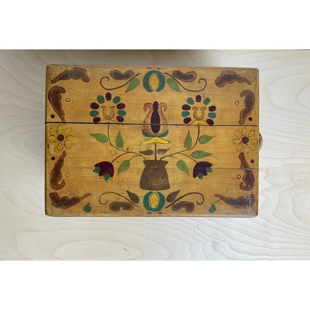 Early 21st Century Small Hand Painted Folk Art Wooden Trunk For Sale - Image 5 of 11