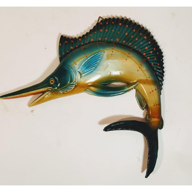 Mid-Century Modern Vintage Fiberglass Swordfish Plastic Wall Sculpture For Sale - Image 3 of 6