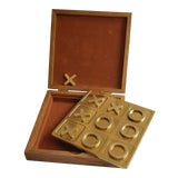 Image of Vintage Brass Tic Tac Toe Game in Wood Box For Sale