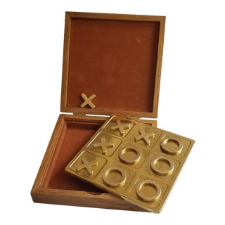 Vintage Brass Tic Tac Toe Game in Wood Box For Sale