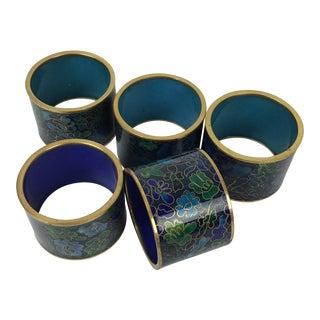 1970s Vintage Cloisonné Napkin Rings - Set of 5 For Sale