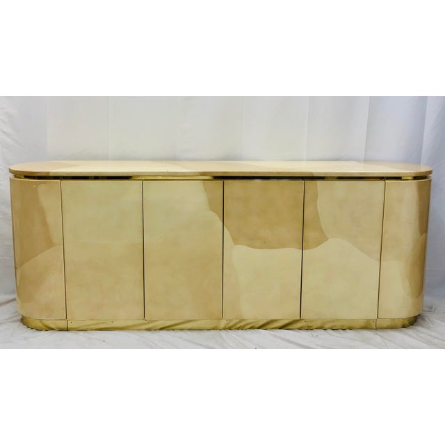 Metal Vintage Mid Century Modern Brass Wrapped Credenza For Sale - Image 7 of 13