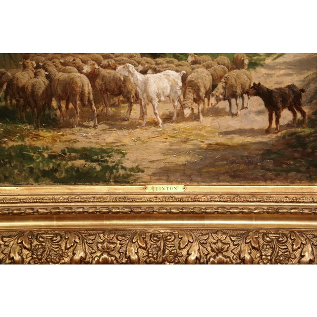 Canvas 19th Century French Sheep Paintings in Gilt Frames Signed C. Quinton - a Pair For Sale - Image 7 of 11