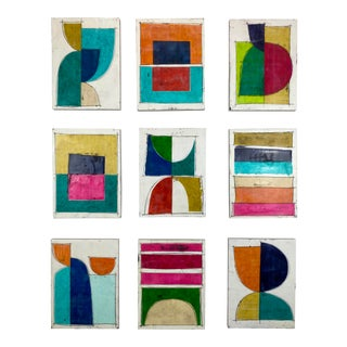 """Encaustic Collage Painting Installation by Gina Cochran """"The Honeymoon"""" - Set of 9 For Sale"""
