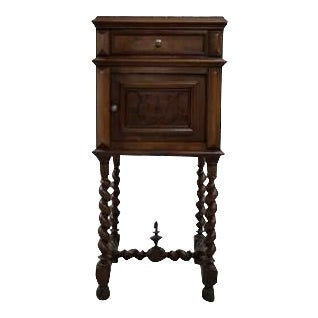 Antique French Vanity Armoire Barley Twist Stand Desk With Pink Marble Top For Sale