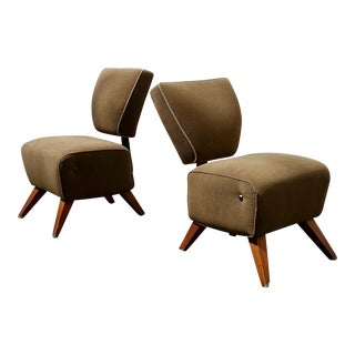 1960s Mid-Century Modern Interior Crafts Camel Upholstered Slipper Chairs - a Pair