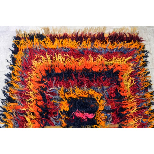 Antique Turkish Oushak Shaggy Mohair Tulu Rug - 4′6″ × 6′3″ - Image 6 of 10