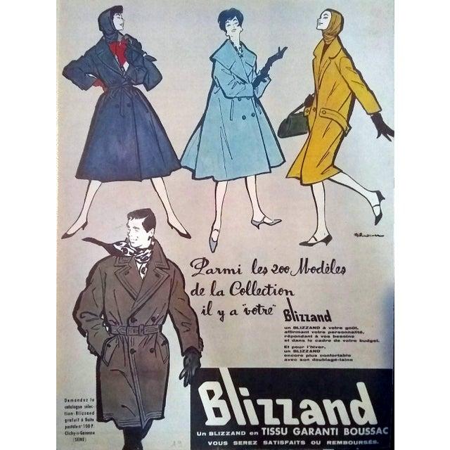 French Rene Gruau 1957 Blizzand Raincoats Advertisement For Sale - Image 3 of 3