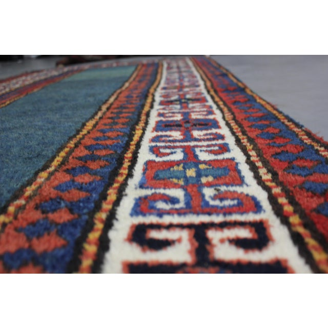 """Traditional Hand Knotted Antique Talesh Kazak Rug - 3'9"""" X 9'7"""" For Sale - Image 3 of 4"""