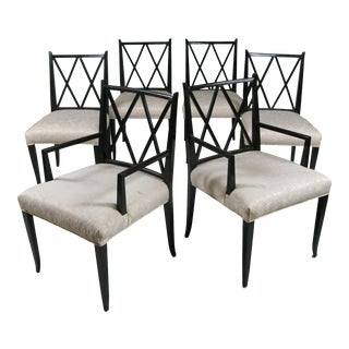 1950s Set of Six 'Double X' Dining Chairs by Tommi Parzinger for Parzinger Originals For Sale