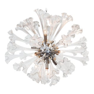Sputnik Chandelier with Murano Glass Lilies For Sale