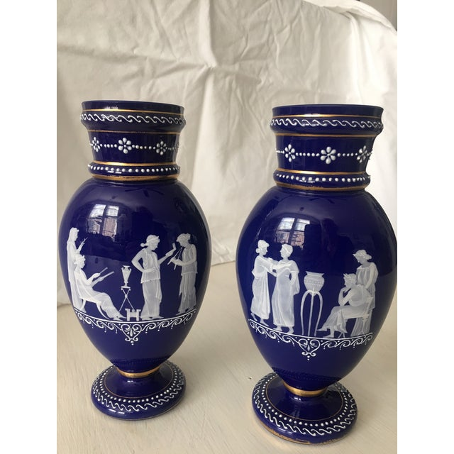 Figurative Pate' Sur Pate' Cylindrical Necks and Round Foot on Cobalt Blue Ground and White Pate Sur Pate Flask Shape For Sale - Image 3 of 4