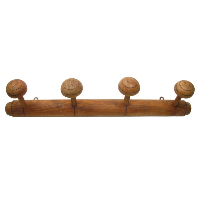 Antique French Wooden Coat or Towel Rack - Image 1 of 3