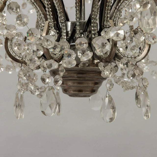 French Sixteen Arm Silver Metal Highly Beaded French Chandelier For Sale - Image 3 of 9