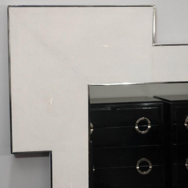 Custom square shagreen mirror with square edges.