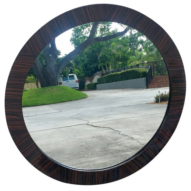 Brown Burled Wood Frame Round Mirror For Sale