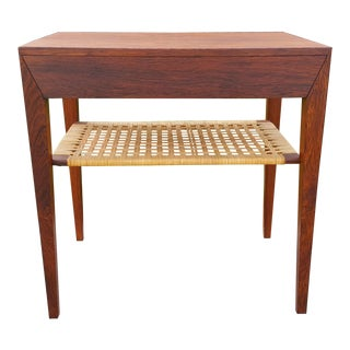1950s Danish Modern Severin Hansen Haslev Rosewood Nightstand Table For Sale