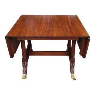 Antique 19th Century Federal Style Mahogany Drop Side Dining Room Table C1890 For Sale