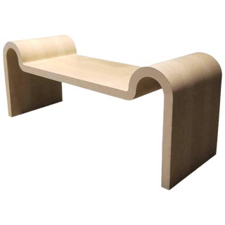 Iconic Karl Springer Sculptural Curved Bench For Sale