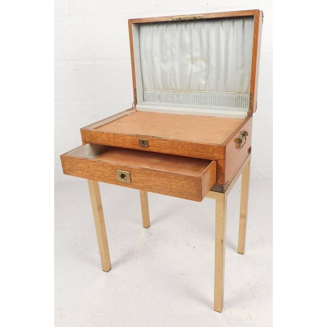 1970s Mid-Century Modern Single Drawer Campaign Style Stand For Sale - Image 5 of 11
