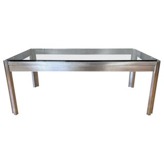 Impressive Custom Fabricated Stainless Steel and Glass Coffee Table, 1970s For Sale