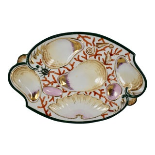 Porcelain Coral & Sea Shell Scroll Shape Oyster Plate