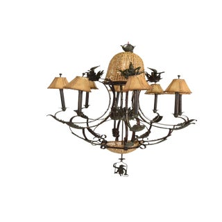 Hollywood Regency Maitland Smith Bronze & Cane Monkey Chandelier For Sale