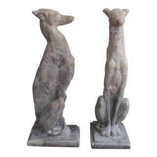 Vintage Concrete Weathered Patinated Greyhound Dog Sculptures - a Pair For Sale