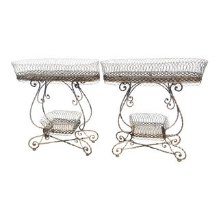 Antique Scrolled Standing Planters - a Pair For Sale