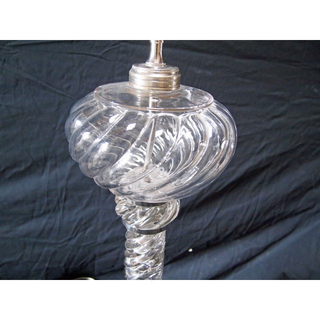 Traditional Pair of Baccarat Style Swirled Glass Banquet Lamps For Sale - Image 3 of 7