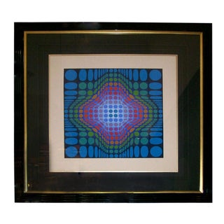 Victor Vasarely Signed and Numbered Silk Screen Lithograph For Sale