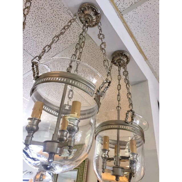 Hollywood Regency Nickel Cloche Pendant Lights - a Pair For Sale - Image 3 of 6