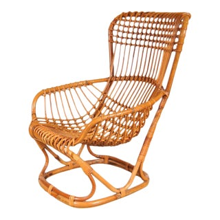Rattan Lounge Chair by Tito Agnoli, Italy, circa 1960